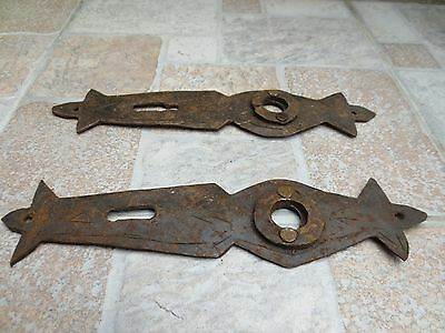 2 ANTIQUE19-20th C TOTALLY Hand Forged Wrough Iron CARVED DOOR LOCKS Old Vintage 10