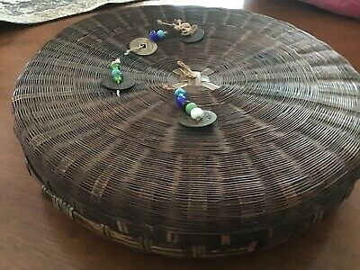 Vintage Antique Chinese Wicker Sewing Basket w/ Beads & Coins W/ Antique Spools 2
