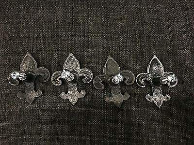 Fleur De Lis Pewter Drawer Knob Pulls Hardware Set of 4 6