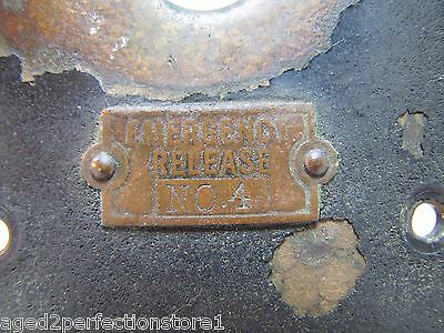 Old EMERGENCY RELEASE No 4 Mount Plate architectural button switch bronze brass 11
