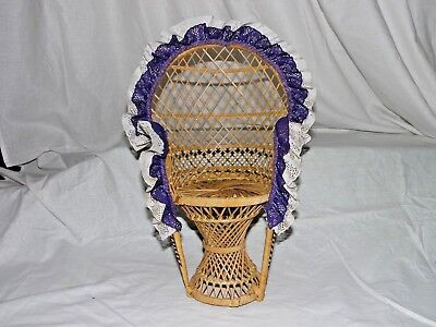 """Large 16"""" Peacock Style Wicker Rattan Chair Doll Furniture Purple & White Lace 2"""