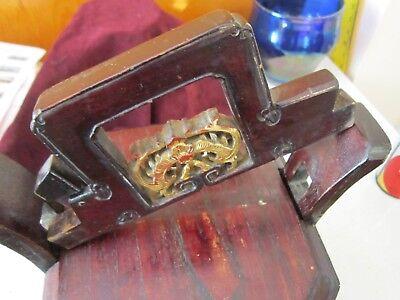 Antique Chinese Wedding Basket Hidden Wood Lock w/Gold Carved Figures Brass Band 6