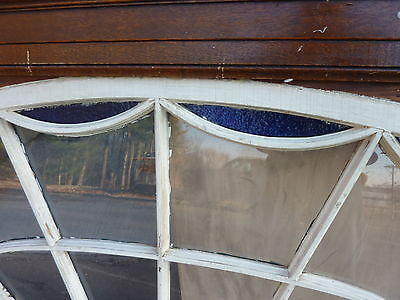 """HUGE gable END stain GLASS arched WINDOW oak FRAME spiderweb design 63 x 43"""" 6"""