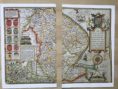 Old Antique Tudor map Lincolnshire, Lincoln, England: John Speed 1600's Reprint 10