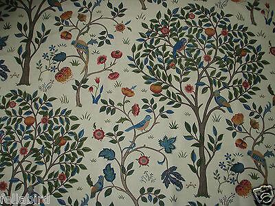 Linen Blend William Morris Curtain Fabric /'KELMSCOTT TREE/' 1 METRE Woad//Wine