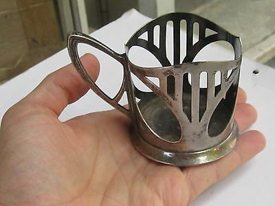 Wmf Art Nouveau Silverplate Pewter Glass Holder Marked-1900 8