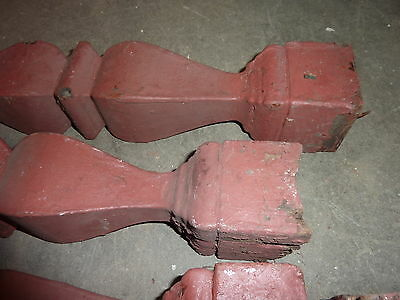 "FOUR (4) turned victorian red BALUSTER spindles 19.5"" high x 2 7/8"" diameter 2"