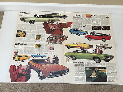 Vintage 1971 Ford Auto Dealer Brochure Poster Mustand Torino Pinto Cobra GT 500