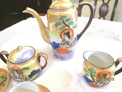 Vintage porcelain hand painted luster coffee set [ made in Japan ] 3