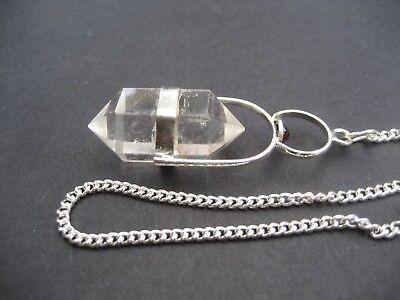 Herkimer Clear Quartz + Garnet Cab Crystal Gemstone w/ Chain Precision Pendulum 5