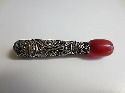 ANTIQUE VINTAGE Silver FILIGREE RED AMBER SMOKING PIPE CIGARETTE-HOLDER RARE! 2