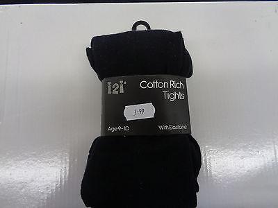 Ragazze i2i Misto Cotone Collant Neri/Bianco 46B262/46B236 3
