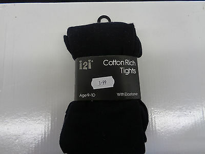Ragazze i2i Misto Cotone Collant Neri/Bianco 46B462/46B236 3