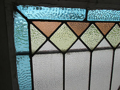~ ANTIQUE AMERICAN STAINED GLASS WINDOW ~ 34 x 35 ~ ARCHITECTURAL SALVAGE ~ 5