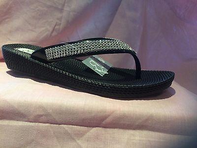 ba755c5e98a530 ... S1 Ladies Womens Ella Toe Post Sandals Low Wedge Diamante Flip Flops  Summer Sun 4