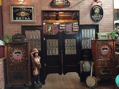 "Early 1900s Oak Bar Saloon Doors with Glass Side Panels  ""Watch Video"" 7"