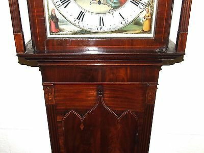 Antique Inlaid Mahogany Moon Phase Longcase Grandfather Clock FURNIVAL OLDHAM 8
