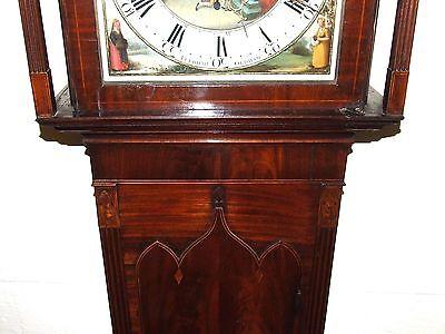 Antique Inlaid Mahogany Moon Phase Longcase Grandfather Clock FURNIVAL OLDHAM 8