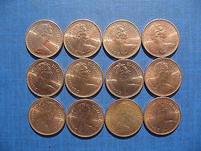 Twelve Elizabeth II Halfpennies 1971. High Grades. 2
