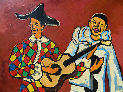 JEAN-ROGER 1924-2015 PIERROT et ARLEQUIN Tableau Peinture Huile ...