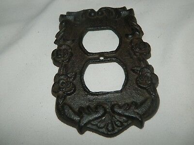 Rustic Ornate French Style Cast Iron Double Electric Outlet Plate Cover 2