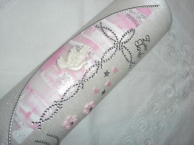 Taufkerze Taufe Kerze quer gebürstet perlmutt  rosa-weiß glitzer  250x60