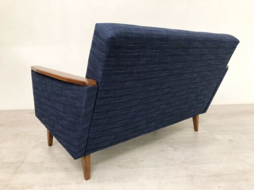 Danish Vintage Inspired Mid Century 50S 2 Seater Cocktail Sofa Settee In Navy 11