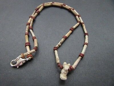 NILE  Ancient Egyptian Cat Amulet Mummy Bead Necklace ca 600 BC 2