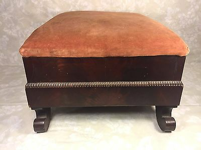 Antique Empire Mahogany Footstool w/ Upholstered Top