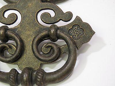 """Set of 6 Metal brass Ornate Fancy Large Vintage Dresser Pulls 3"""" x 5"""" 3"""