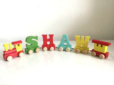 Wooden Letters alphabet train for Personalized name train as Christening gift