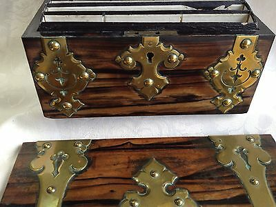 Victorian Coromandel Wood Brass Domed Stationery Box & Blotter Letter Writing 8