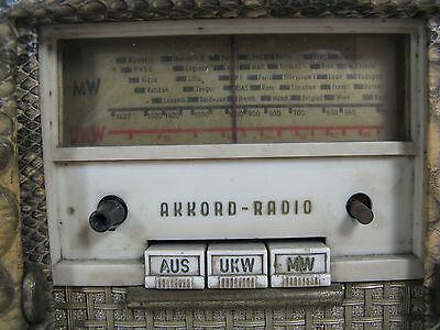 """Seltenes 50´s design Akkord Radio Koffersuper """"Offenbach"""" Schlangenleder Imitat"""