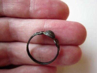 ancient late Byzantine/Medieval bronze ring,decorated with stone/glass. X-XIV AD 5