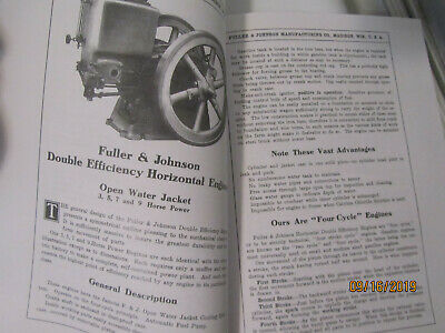 1910 Fuller&Johnson Double Efficiency Gasoline Engines Catalog, all sizes 3