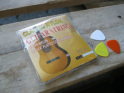 █░ 1 Satz Nylon-Gitarrensaiten Konzertgitarre-Sc10-Stärke 028-043 +3 Piks Gratis 5