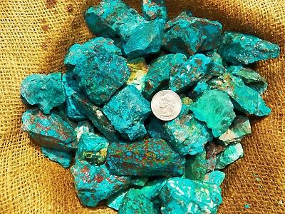 1000 Carat Lots of  Chrysocolla & Turquoise Rough - Plus a FREE Faceted Gemstone 10