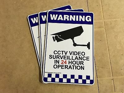 3 PACK - Warning CCTV Security Surveillance Camera Rigid Plastic Sign 200x300mm 2