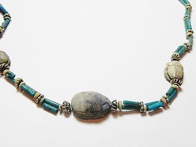Zurqieh - 50W- Ancient Egypt. Necklace Of Faience Beads & Scarabs. 1400 B.c 4