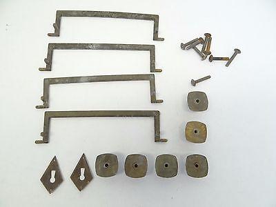 Antique Old Long Dresser White Metal A4614 DG Handles Pulls Parts Hardware 9