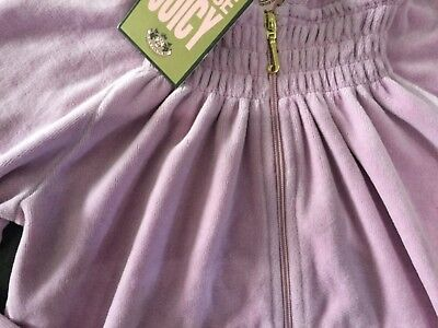 """NWT Juicy Couture New & Genuine Girls Age 8 Lilac Velour Hoody With """"J"""" Pull 3"""