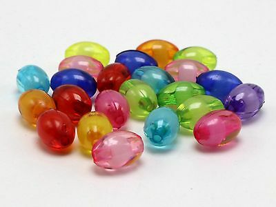 100 Mixed Jelly Color Acrylic Smooth Oval Tube Spacer Beads 14X7mm Kids Crafts
