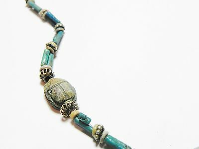 Zurqieh - 50W- Ancient Egypt. Necklace Of Faience Beads & Scarabs. 1400 B.c 5