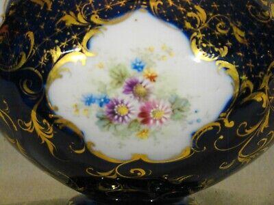 "Antique Continental Porcelain Hand Painted Cobalt & Gold Urn mid 19th c 7""h 3"