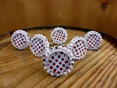 6 WHITE RED DOT FLOWER GLASS DRAWER CABINET PULLS KNOBS VINTAGE chic hardware 3