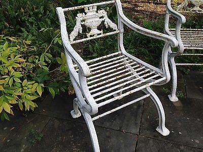 Rare 3 piece set Antique Neoclassical Cast Iron Garden Bench & chairs Victorian 3