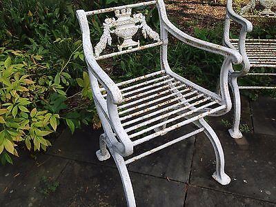 Rare 3 piece set Antique Neoclassical Cast Iron Garden Bench & chairs Victorian 3