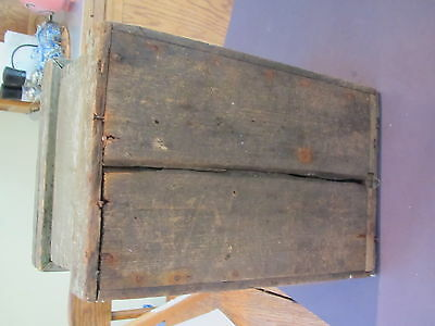 "Viintage wood 15 1/2""L X10""D X 8 1/2""H carpenters tool or document box-orig lock 7"