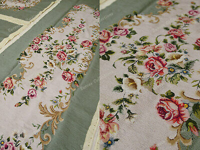 Light Olive Victorian Blooming Roses VTG Reproduction Chair Sofa Cover Sets 5