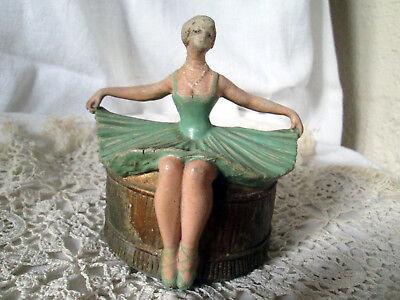 Demi Figurine Poupee Carton Bouilli  Half Doll Tee Puppee Powder Box